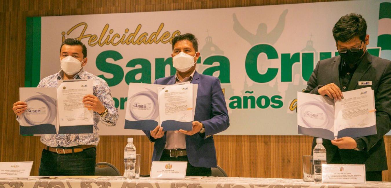 EL GOBIERNO NACIONAL REALIZA LA FIRMA DE CONVENIOS PARA LA TRANSFERENCIA DE PLANTAS DE OXÍGENO PARA SANTA CRUZ